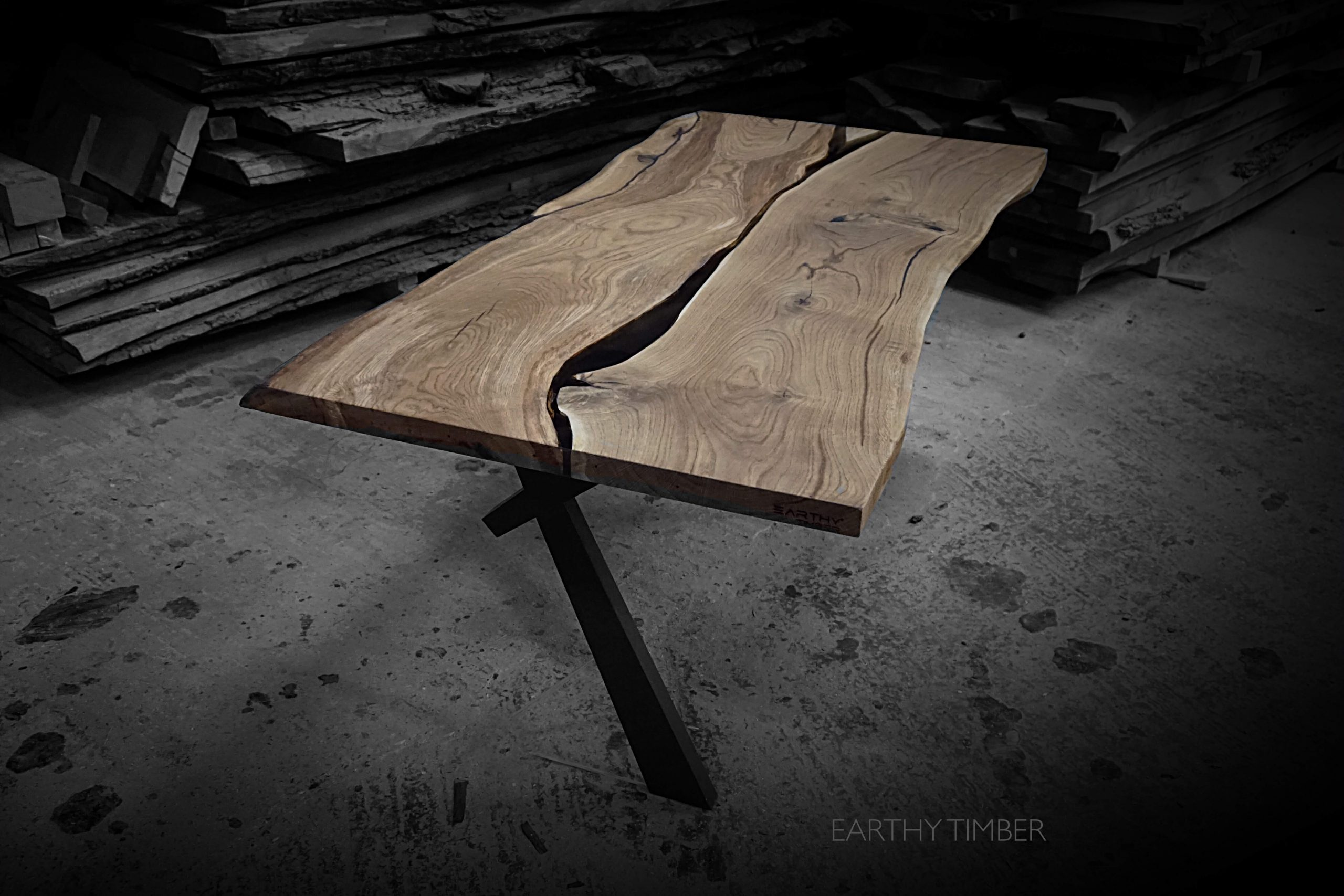 walnut dining table river resin table as stawicki