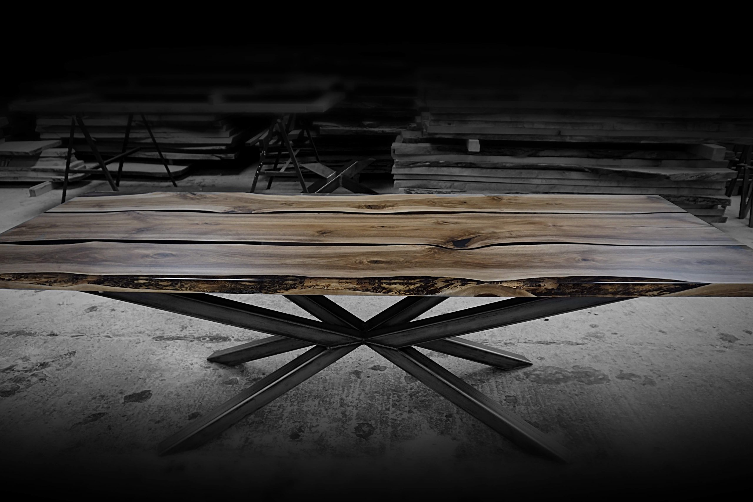 centerpiece dining table in wild wood as stawicki